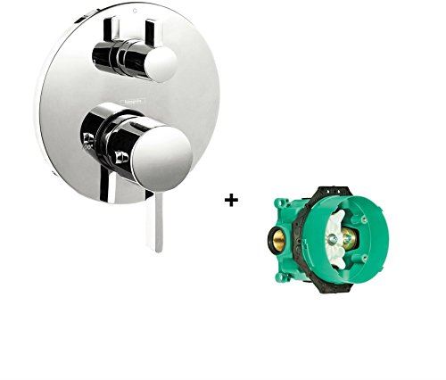 Hansgrohe 04231000 S Thermostatic Trim With Volume Control And Diverter With iBox Universal Plus Rough with Service Stops,Chrome - Hansgrohe Trim Volume Control