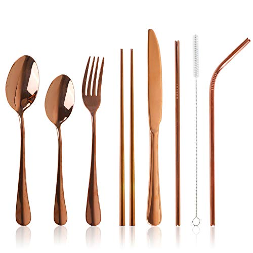 Stainless Steel Flatware Set Reusable Cutlery Set Travel Utensils Set with Straws for Camping Office or School Lunch,Dishwasher Safe (Rose Gold-Set of 8)