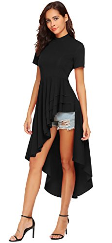 (SimpleFun Women Round Neck Short Sleeve High Low Hem Irregular T-Shirt Blouse Tops Dress(Black,M))