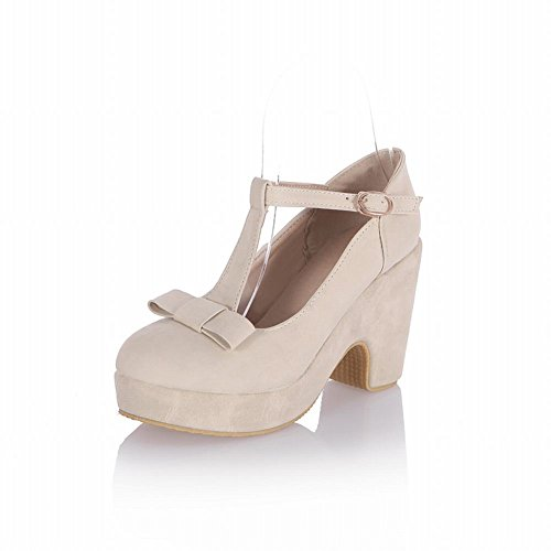 Carolbar Sweet Dames T-strap Buckle Bows Cute Platform High Chunky Heel Mary Janes Shoes Beige