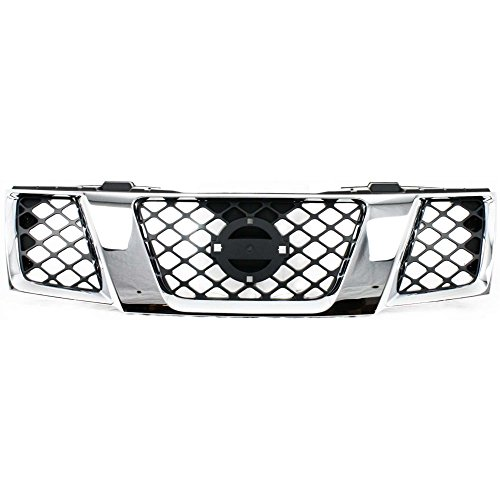 Grille for Nissan Frontier 05-08 Pathfinder 05-07 Assembly Chrome Shell/Textured Black Insert