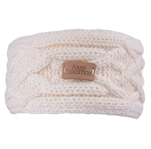 Aran Knitted Traditional patterns Headband, Cream Colour