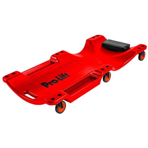 Pro Lift Mechanic Plastic Creeper 40 Inch - Blow Molded Ergonomic HDPE Body with Padded Headrest & Dual Tool Trays - 350 Lbs Capacity Red