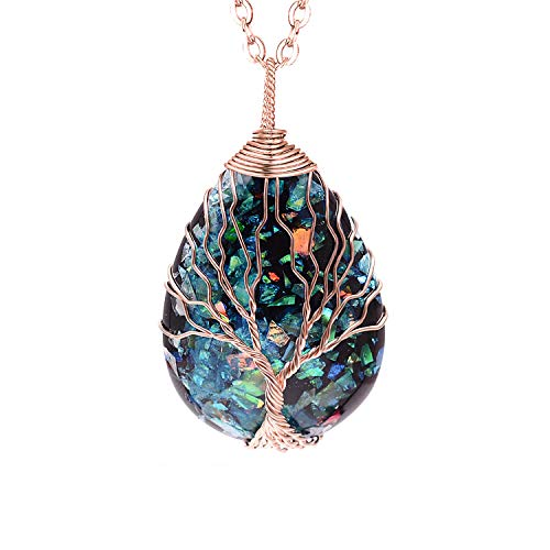Handmade Tear Drop Healing Crystal Necklace Wire Wrapped Tree of Life Pendant Rose Gold Plated Imitated Opal Natural Stone Jewelry Birthday Gift for Women Men