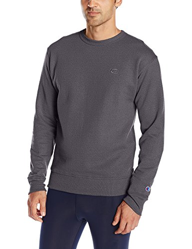Champion Men's Powerblend Pullover Sweatshirt, Granite Heather, Medium (Mens Sweatshirt Crew Fleece)