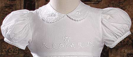 ''Irish'' Cotton Heirloom Christening Gown with Hand Embroidered Shamrocks by Little Things Mean A Lot (Image #1)
