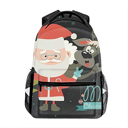 Cute Lightweight Funny Santa Claus With Reindeer Bookbags School Backpacks for Teen Girls