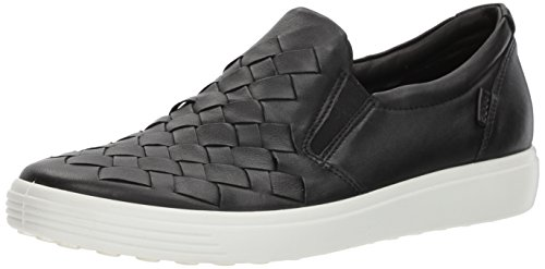 (ECCO Women's Soft 7 Slip Fashion Sneaker, Black Woven, 39 EU/8-8.5 M)