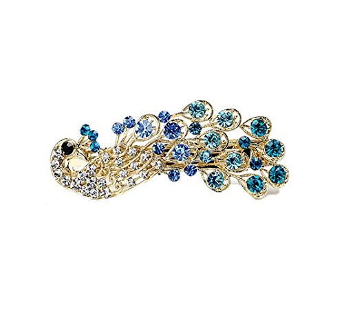 Jackie Fashion Women Lady Peacock Full Crystal Rhinestones Hairpin Hair Clip (Blue)