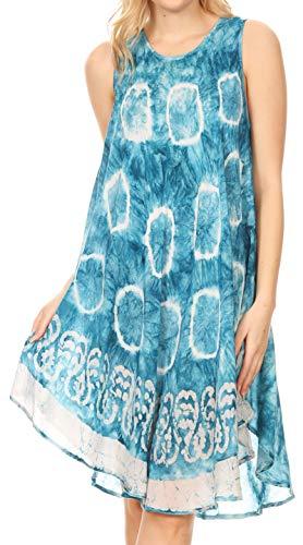 Tie Dye Batik - Sakkas 18151 - Marlena Women's Swing Sleeveless Tie Dye with Batik Nightgown Dress Cover - Blue - OS