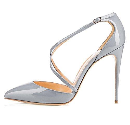 Grigio tacco Soireelady scarpe A Spillo Da Scarpe Alla Caviglia Donna Cinturino Con Cwqq4fO