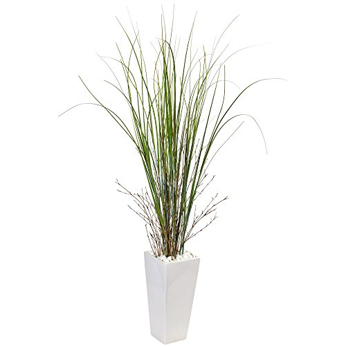 Nearly Natural Bamboo Grass Artificial Plant in Ceramic, Green ()