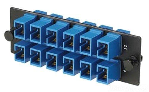 Panduit FAP12WBUSCZ Single-Mode 12-Port Fiber Adapter Panel with Zirconia Ceramic Split Sleeve, Blue Adapter Panel Ceramic Sleeves