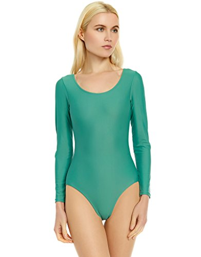 Leveret Women's Leotard Basic Long Sleeve Ballet Dance Leotard Variety of Colors (Size XSmall-XLarge) (Medium, -
