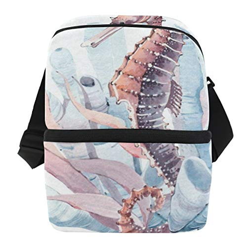 Lunch Bag Watercolor Seahorse Insulated Cooler Bag Womens Leakproof Thermos Storage Zipper Tote Bags for Golf
