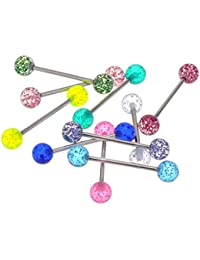 Ultra Sparkle Acrylic Tongue Ring 14g - In Assorted Colors Pack of 10