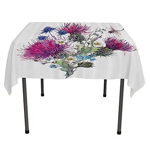Dragonfly Kitchen Tablecloth Summer Natural Meadow Herbs Bouquet Wild Thistles Chamomiles Watercolor Boho Art Multicolor Pattern Tablecloth Spring/Summer/Party/Picnic 50 by 80