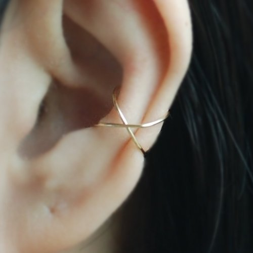 Ear Cuff, 14K Yellow Gold Filled,Sterling Silver 22 gauge Criss Cross X Ear Cuff, Cartilage earring, Fake conch piercing, Holiday Gifts, Gifts for Her, Handmade Gifts,Please select an option