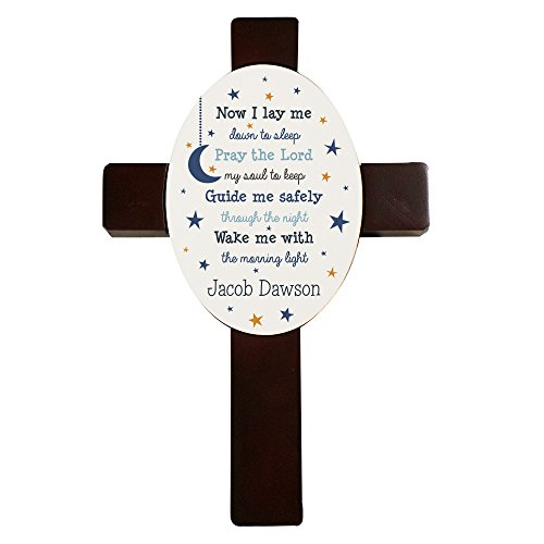 GiftsForYouNow Now I Lay Me Personalized Wall Cross, Blue ()