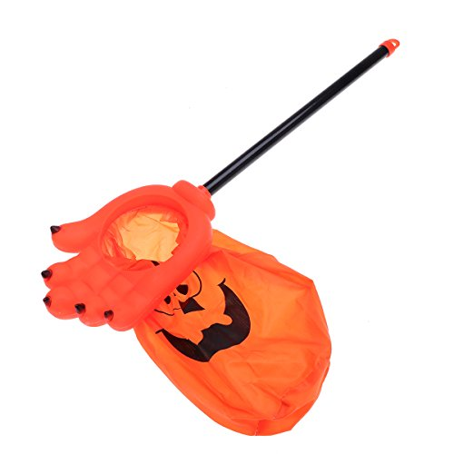 TINKSKY Halloween Trick or Treat Bags Long Handle Ghost Hand Design Halloween Candy Bag for Kids (Orange)]()