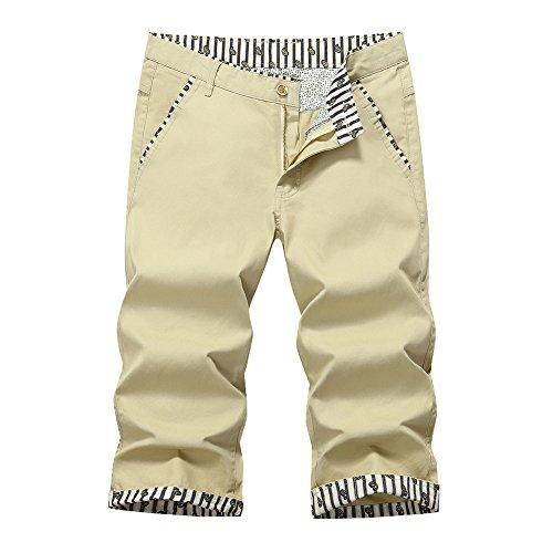 d582b63e7a50 Lovelelify Mens Chino Shorts Slim Fit Short Casual Flat Front Shorts US  32/Asian 33 Khaki HA805