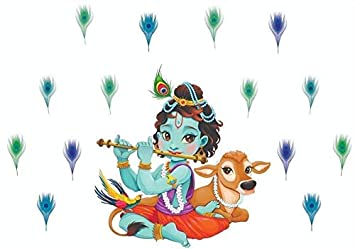 2297ccb26f9 Image Unavailable. Image not available for. Colour  Paper Plane Design PVC  Vinyl Lord Krishna Flute Singing with Cow and Peacock Petal Wall Sticker