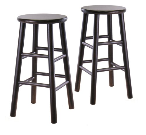 Winsome Wood S/2 Wood 24-Inch Stools, Espresso Finish