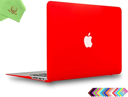 UESWILL Smooth Soft-Touch Matte Frosted Hard Shell Case Cover for MacBook Air 13 (Model: A1466/A1369) + Microfibre Cleaning Cloth, Red