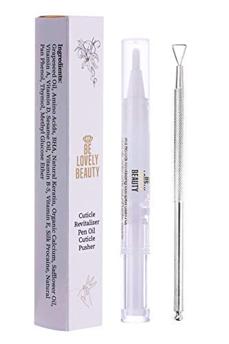 Cuticle Pusher & Revitalizing Serum Oil | Nail Strengthener | Triangle Head | Stainless Steel | Nail Polish Peeler Scraper Remover | Non-Toxic | Compact | Organic Ingredients | Excellent Quality