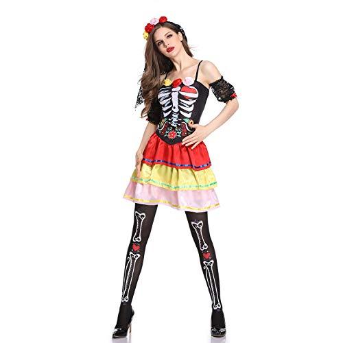 HUAM Traje de Novia Fantasma Traje de Víspera de Todos los Santos Mujer Adulta Traje de Calavera Carnaval Cosplay Carnaval,...