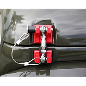 Pair . Iparts Red Hood Catch Kit Assembly Lock Latch Sets for 2007-2017 Jeep Wrangler JK/&JKU