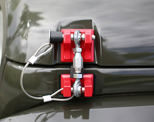 ICARS 2007-2018 Jeep Wrangler JK JKU Hood Latches Hood Locks Hood Catch, Retro Style, Stainless Steel, Red - Pair by ICARS