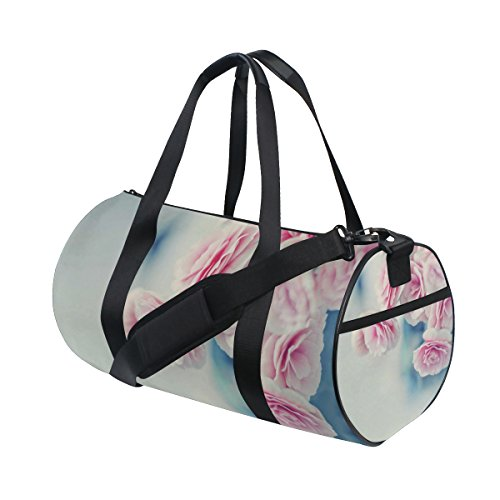 Pink Flower Plant Lightweight Canvas Sports Bag Travel Duffel Yoga Gym Bags by JIUMEI