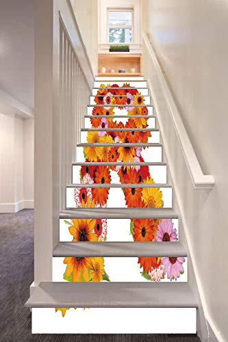 (anselc05ls Letter R 3D Stair Riser Stickers Removable Wall Murals Stickers,Gerbera Daisies Abloom in R Symbol Shape Summer Time Flowers Spring Bouquet Print,for Home Decor 39.3