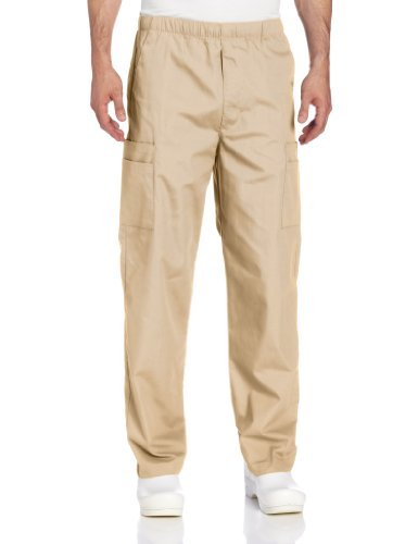 - Landau Men's Comfort 7-Pocket Elastic Waist Drawstring Cargo Scrub Pant, Sandstone, Medium