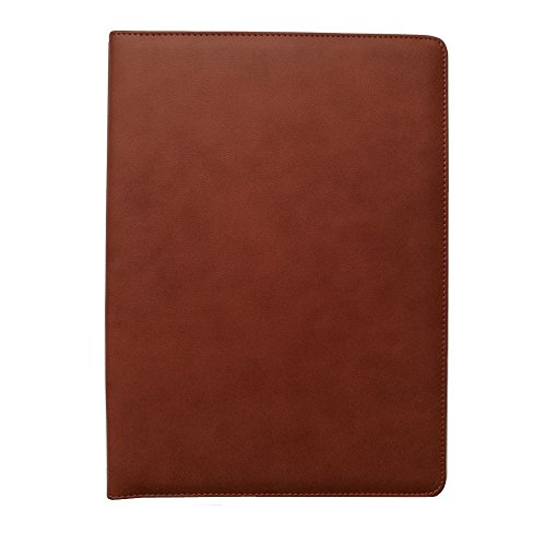 Conference Padfolio - Office Portfolio Organizer Business Padfolio 12-bit Solar Calculator A4 PU Leather Conference Folder Holder Clipboard Cover with Writing Pad eBook (Brown)