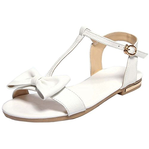 COOLCEPT Damen Mode-Event T-Spangen Sandalen Open Toe Flach Schuhe Mit Bogen White