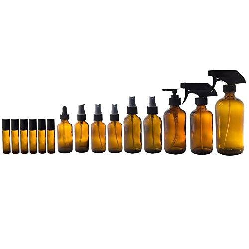 Amber Glass Bottles 15 Piece Starter Set Kit- 1-16 oz Trigger Sprayer, 1-8 oz Spray, 1-8 oz Lotion Pump, 2-4 oz Fine Mist Spray,2-2oz Spray,1-2oz Treatment Pump,1-2oz Dropper, 6-10 ml - Bottle Lotion 8 Spray Oz