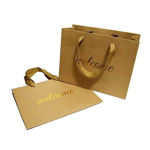 FOONEA Welcome Bags Kraft Paper Bag with Handles for Hotel Guests Wedding Favors Graduation Gift Bags Birthday Party Set of 10, Horizontal Design]()