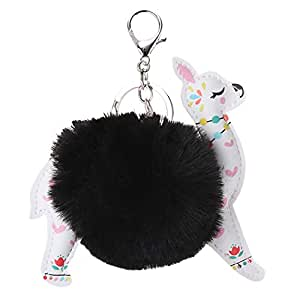 COAFIT Key Chain Alpaca Shape Pom Pom Bag Charm Keyring Charm Purse Charm