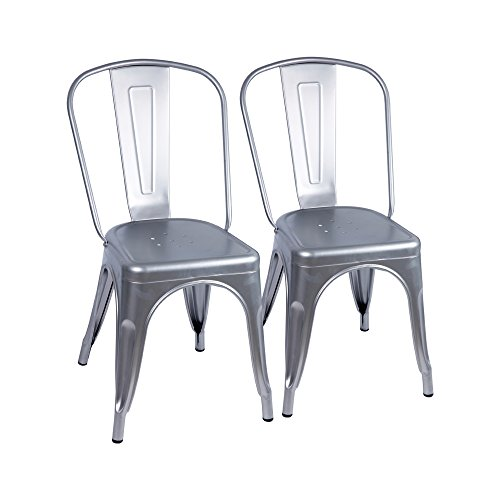 Furmax Metal Dining Chair Tolix Style Indoor-Outdoor Use Stackable Chic Dining Bistro Cafe Side Metal Chairs Sliver (2 pack)