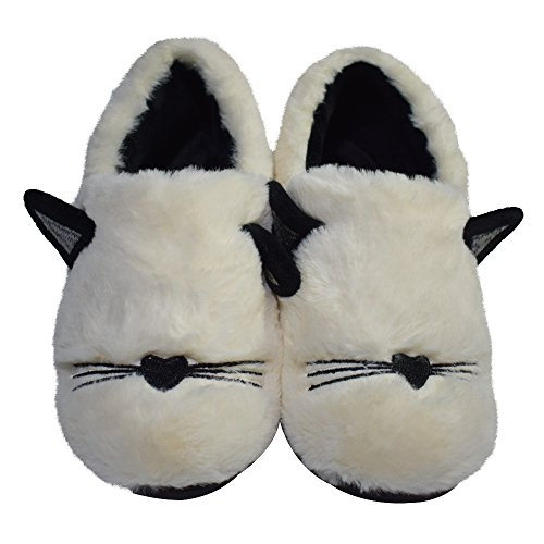 Animal Shoes Cat Comfy Embroidery Slippers White1 House Cute Fluffy Memory Plush on Womens Indoor Slip Soft Foam wBTpAF