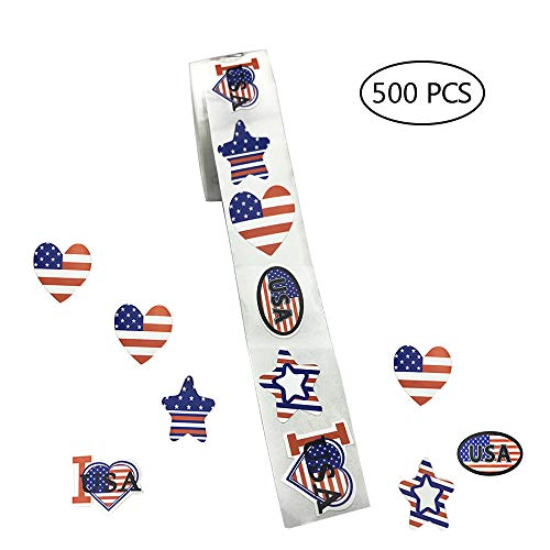 500 Small American Flag Stickers on a Roll - Patriotic Stickers 1.5cm x 2.5cm USA Patriotic - Label Patriotic