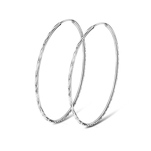 - YFN Hoop Earrings 925 Sterling Silver Circle Endless Loop Earrings Mother Day Gift for Mom Women Wife Size 40 50 60MM