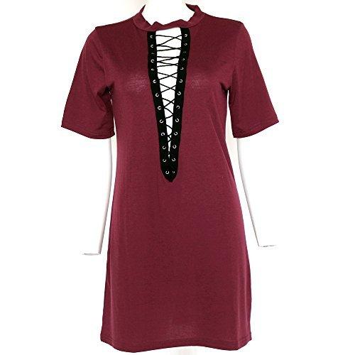 Sexy Halter Dress Top Shirt (Sexy Women Club T-shirt Dress V neck Halter Lace Up Short Sleeve)