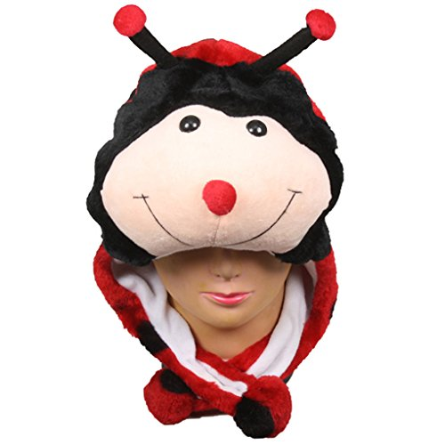 Choose From Over 25 Animals! - Plush Faux Fur Animal Critter Hat Cap - Soft Warm Winter Headwear - Short with Ear Poms and Flaps & Long with Scarf and Mittens Available (Short Ladybug) ()