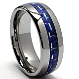 Metal Masters Co. 8MM Dome Tungsten Carbide Ring Wedding Band W/Blue Carbon Fiber Inlay Size 10