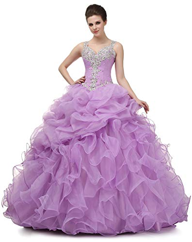 New Gown Quinceanera (Ikerenwedding Women's Spaghetti Beading Pearls Sheer Back Ball Gown Quinceanera Dresses Purple US16)