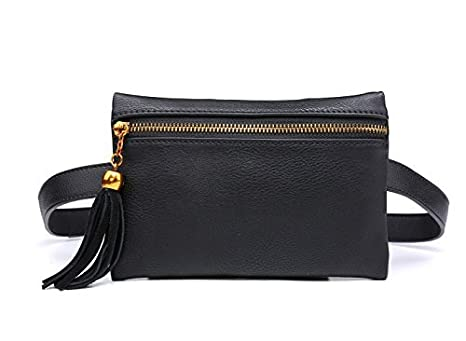 65113e31653d98 Amazon.com | Women Small Leather Handbag Stylish Waist Bag Travel Phone  Pouch Security Wallet Black | Waist Packs