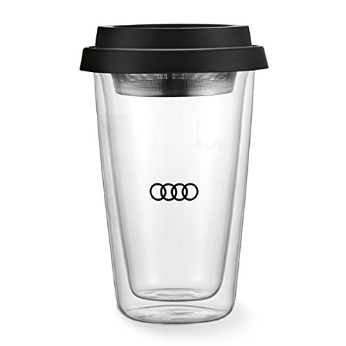 Genuine Audi Double Wall Travel Glass Mug Cup with Tea Strainer